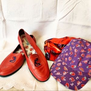 GRASSHOPERS RED HAT SOCIETY RED LEATHER LOAFERS